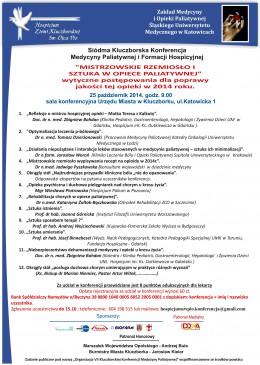 VII Kluczborska Konferencja Medycyny Paliatywnej i Formacji Hospicyjnej